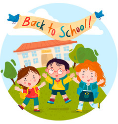 welcome back to school children rejoice and jump vector image