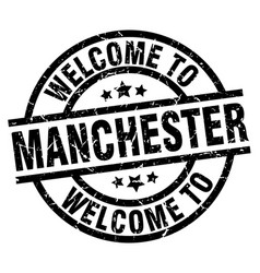 welcome to manchester black stamp vector image