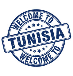 Welcome to tunisia blue round vintage stamp vector