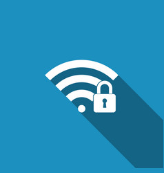 wifi locked sign icon isolated with long shadow vector image