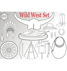 wild west set vector image