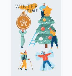 winter people set vector image