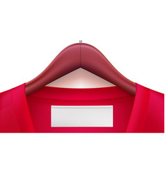 Wooden clothes hangers with red clothes and empty vector