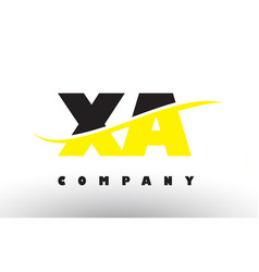 Xa x a black and yellow letter logo with swoosh vector