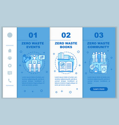 Zero waste education onboarding mobile web pages vector