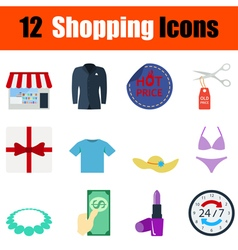 Flat design shopping icon set vector image
