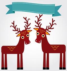 Funny brown deer on a white background Vintage vector image vector image