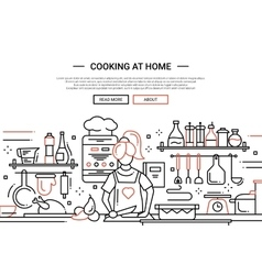 Girl cooking at home - line design website banner vector image vector image