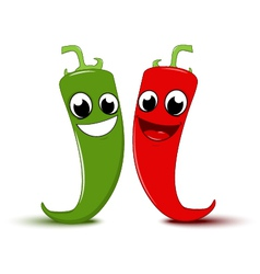 Happy Cartoon Red and green chili pepper vector image