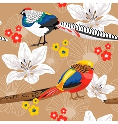 Seamless background with flowers and pheasants vector image