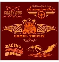 Sports racing emblem - set vector