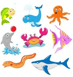 Aquatic animals set vector