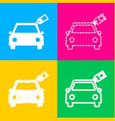 car sign with tag four styles of icon on four vector image