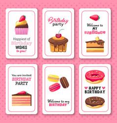 Happy birthday greetings invitation sweet vector