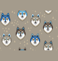 husky or wolf seamless pattern vector image