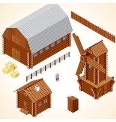 Isometric Wooden Cabins and House Clip Art vector image vector image