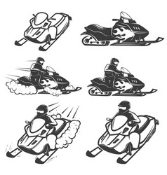 set of snowmobile isolated on white background vector image