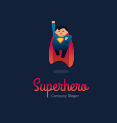 Superhero logo concept fat character flying flat vector