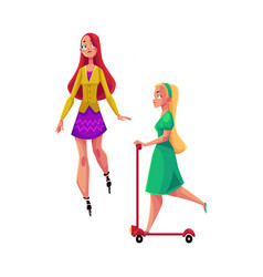 two girls women one roller skating another vector image vector image