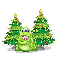 Christmas trees at the back of the monster with a vector image vector image