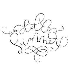 hello summer text on white background hand drawn vector image