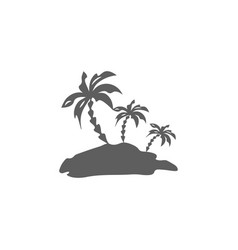palm trees silhouette island vector image