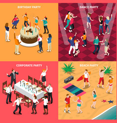 people at party isometric design concept vector image