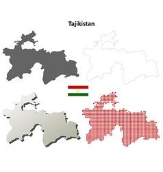 Tajikistan outline map set vector image vector image
