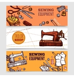 Vintage Sewing Banners vector image