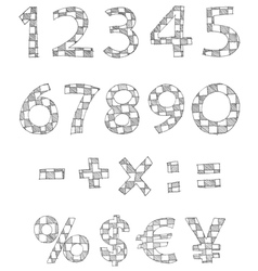 hand written checkered numbers vector image