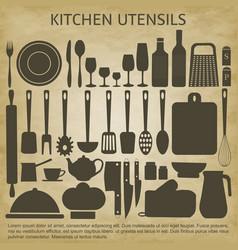logo kitchen icons set vector image