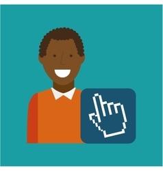 Man afroamerican using laptop cursor media icon vector