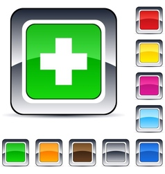 Plus square button vector