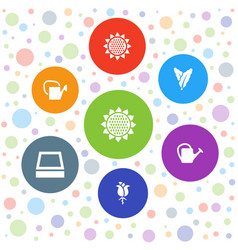 7 flora icons vector image
