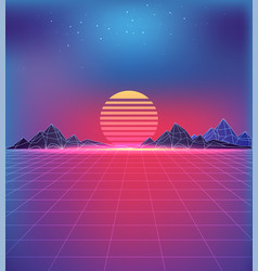 80s style backdrop with futuristic cosmic motifs vector image