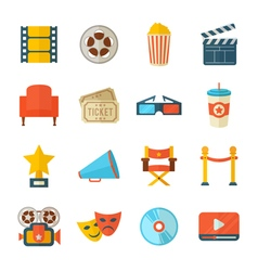 A detailed set of flat style cinema icons for web vector image