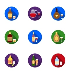 Alcohol set icons in flat style big collection of vector