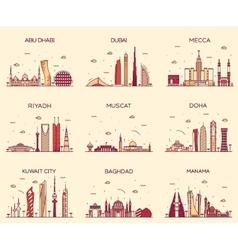 Arabian peninsula skylines line art style vector image