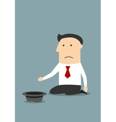 Bankrupt unhappy businessman begging money vector