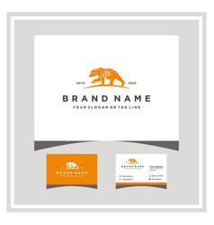 Beach bear logo design and business card vector