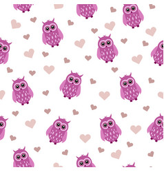 beautiful seamless pattern with a pink owl animal vector image