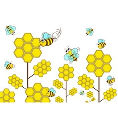 Bee with flower in garden vector