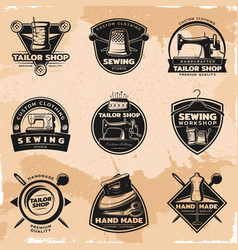 Black sewing and tailor labels collection vector