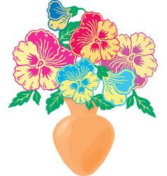 Bouquet colorful violas in a vase vector