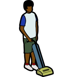 Boy vacuuming vector