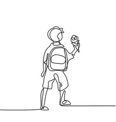 Boy with ice-cream going back to school with bag vector