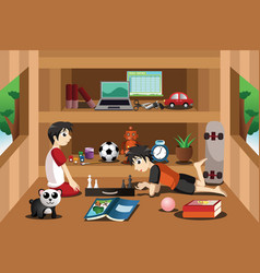 Boys playing inside a tree house vector