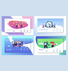 Business people teamwork landing page set vector