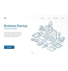 Business project startup modern isometric line vector