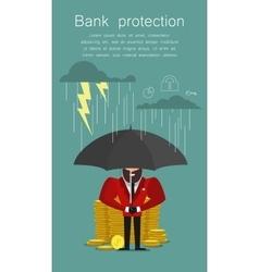 Businessman with umbrella protecting bank Saving vector image